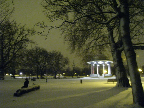 Clapham Common bandstand in the snow