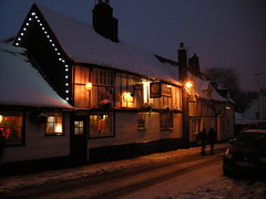 The Six Bells pub in St Albans under snow