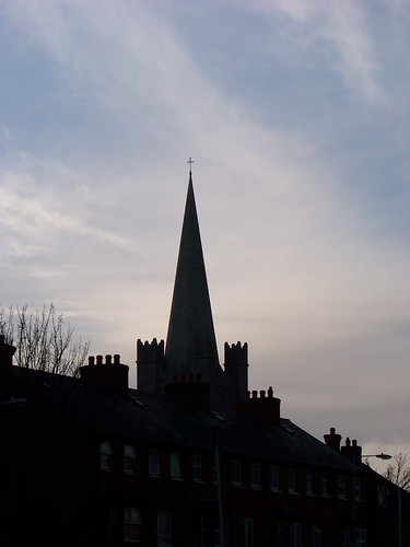 Spire of St. Patrick's near sunset