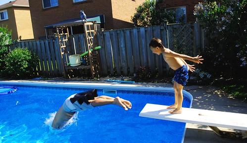 Brodie Pushing Paul into Pool