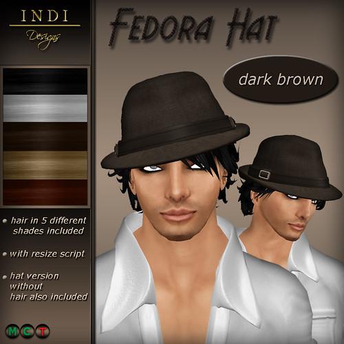 Fedora Hat dark brown