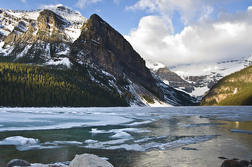 Sunrise at Lake Louise where the Lake is still Frozen