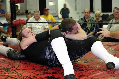 Static does his best to make The Main Attraction Tommy Knight submit in their battle from Sept. 2008. Photo by Mike VanHoogstraat