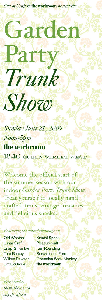 Garden Party Trunk Show, by The Workroom