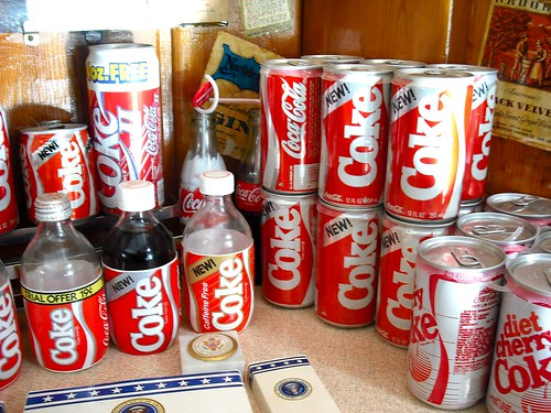 Collection of New Coke cans