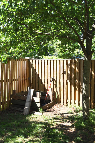 My compost pile. We renovated our deck last summer and I saved the old wood to build a compost bin.