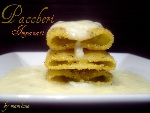 Paccheri impanati con cremina di finocchi e gorgonzola