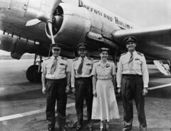 Crew and Queensland Airlines DC3 plane, 'Wide Bay'