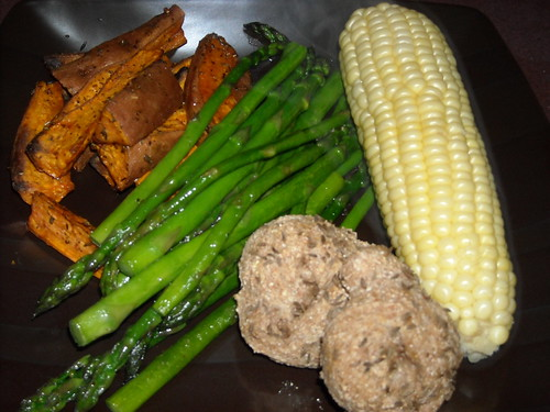 Roasted Sweet Potatoes, Asparagus, Corn on the Cob and Caraway-Rye Dinner Rolls