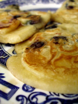 blueberry pancakes drizzled with honey - breakfast one day last weekend.
