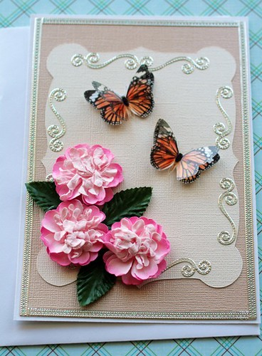 Elegant Butterfly and Flower Note Card