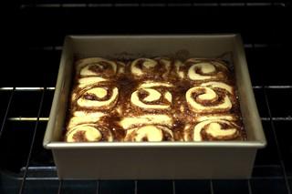 cinnamon buns, a-bakin'