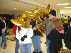Preparing for the cold - whats that tuba doing on your head? Photo by Roger Bianchini.