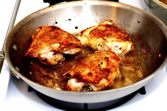 browning the chicken thighs