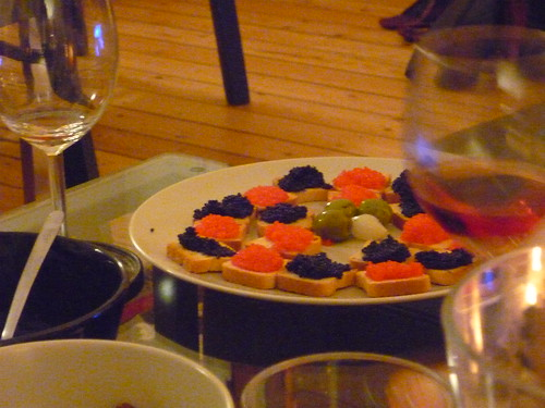 Small toasts with red and black caviar