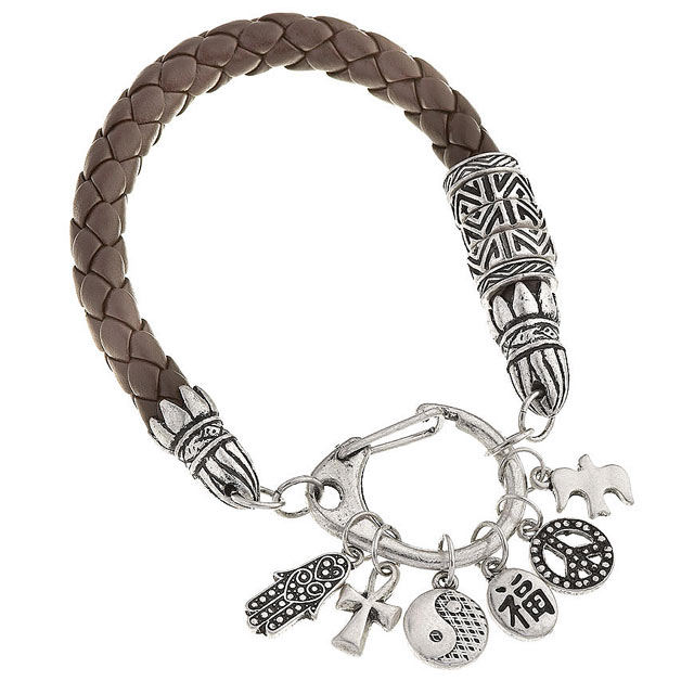 ROPE AND CHARMS PLAIT BANGLE