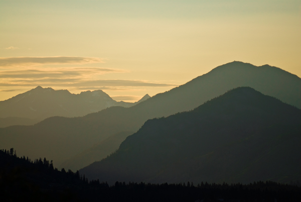 north cascades at sunset