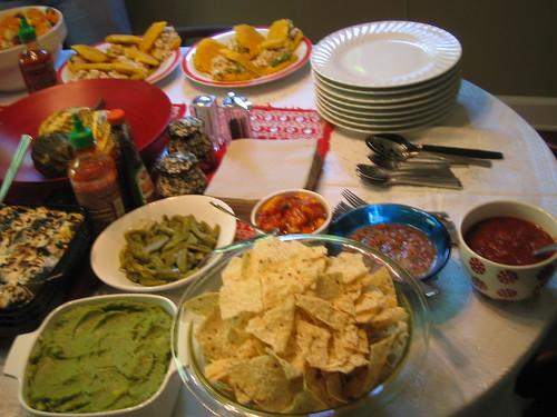 3 salsas, chips, guacamole, nopales (cactus)