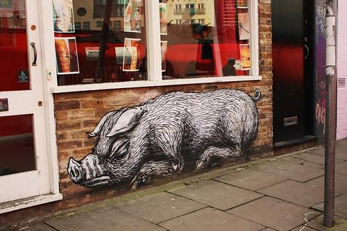 ROA's Pig on Bacon Street