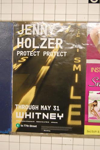 Subway ad for Jenny Holzer exhibit