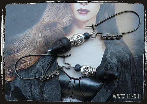 Orecchini neri teschi - Black skull earrings IFSKULL