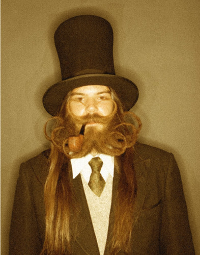 "This is the official portrait of Mr. Booley.  As in, some other bloke off the internet that we photoshopped to look like it was old.  (His name, BTW, is Kenny Burke and hes the 2007 World Beard And Moustache Championships ""Full Beard, Styled Moustache."" Champion.  Congrats, Mr. Burke."