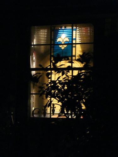 My Fleur de Lis Window at Night