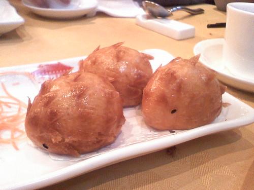 Hedgehog shaped fried custard bun