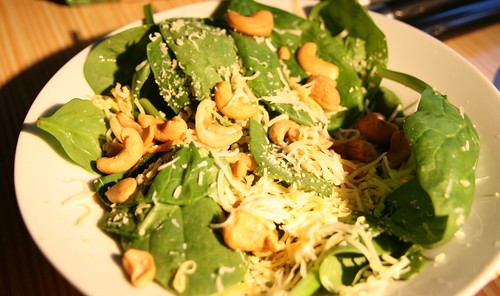 Spinach Salad with Cashews and Cheese