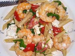 Pasta with shrimp and feta