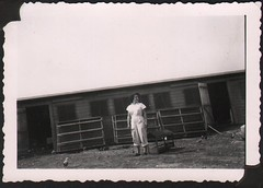Helga Rome in front of family chicken coop