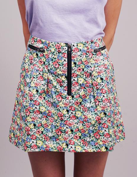 Flower zip skirt