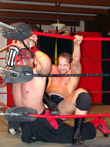 The fierce and intense Mark Sterling punishes the debuting Kahagas after the two battled outside of the ring. Photo by Kari Williams