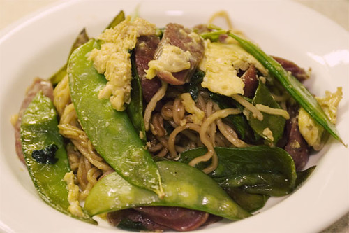 Stir fried noodles w/ snow peas, chinese sausages, spinach, eggs
