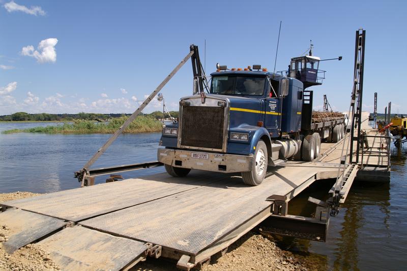 Crossing the Zambian Botswana border by pontoon