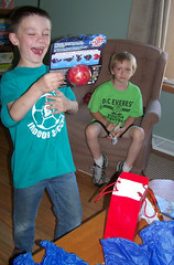Opening Presents - Its a Bakugon (Im not sure what it is, but Andrew was excited!)!!