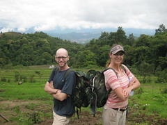 Carrie and I with our packs ready to get going on day two of our trek