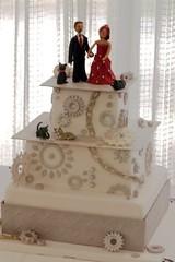 Diamond plate and motorcycle sprocket wedding cake