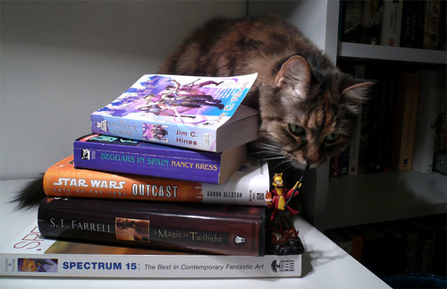 March books, plus kitty!