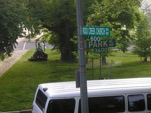City mowing reserve at Park Pl & RCCR
