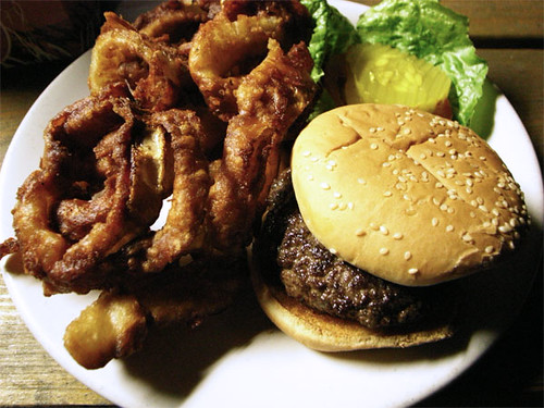 Burger with damn good onion rings