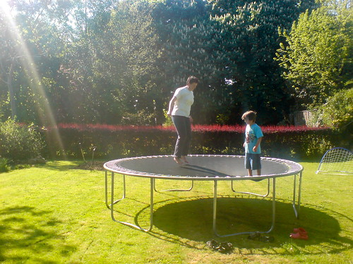 Gail and Alex on the trampoline
