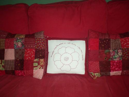 Redwork Cushion Swap Cushion on the sofa