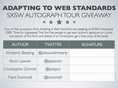 Adapting to Web Standards SXSW Autograph Tour Giveaway
