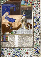 Full page with miniature of Boccaccios vision of Petrarch