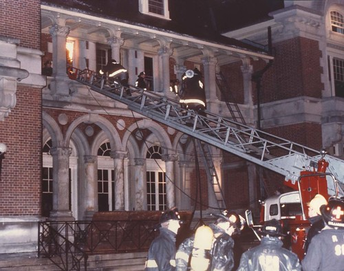 Fighting the fire at Dowling College March 18, 1974