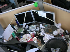 Isaac's trashed desk