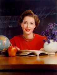 Timken Roller Bearing Co., calendar, September 1950, teacher at desk