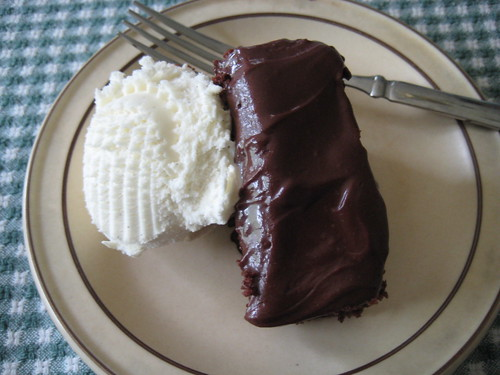 chocolate cake and vanilla ice cream