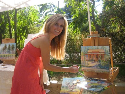 Daphne painting at the Vezer Family Winery for the Fun Family Farm Days event in Suisun Valley, CA